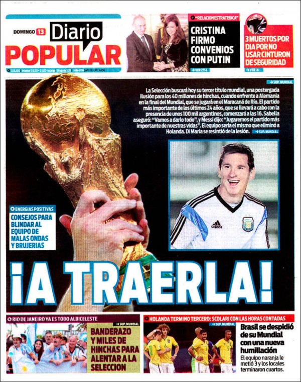 diario popular 600x760 World Cup Final Featured On Newspaper Front Covers Around the World [PHOTOS]