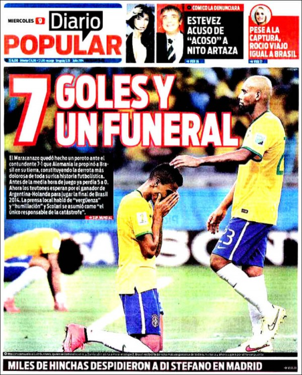 diaro popular 7 goals and a funeral 600x743 Front Covers of Newspapers From Argentina and Netherlands Ahead of World Cup Semifinal [PHOTOS]