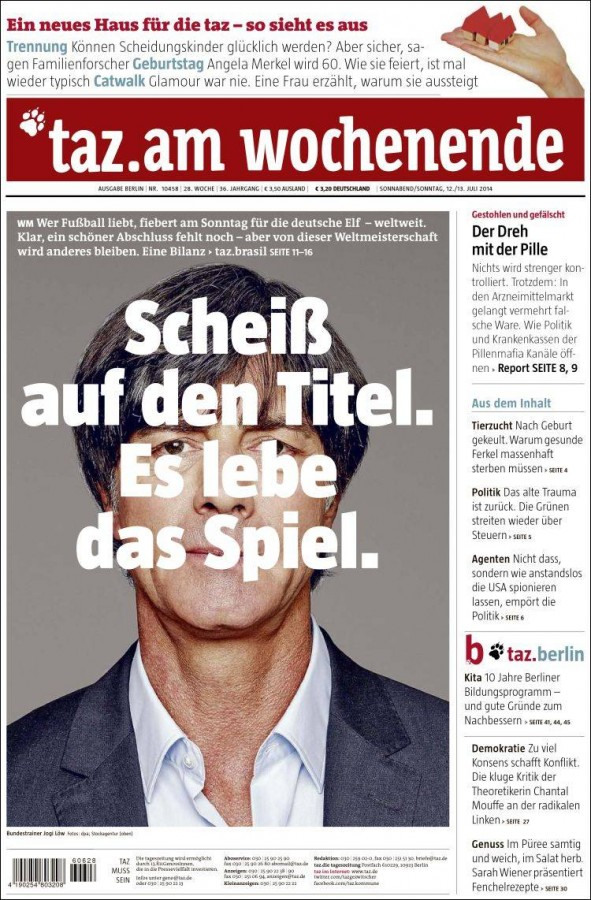 die tageszeitung 591x900 World Cup Final Featured On Newspaper Front Covers Around the World [PHOTOS]