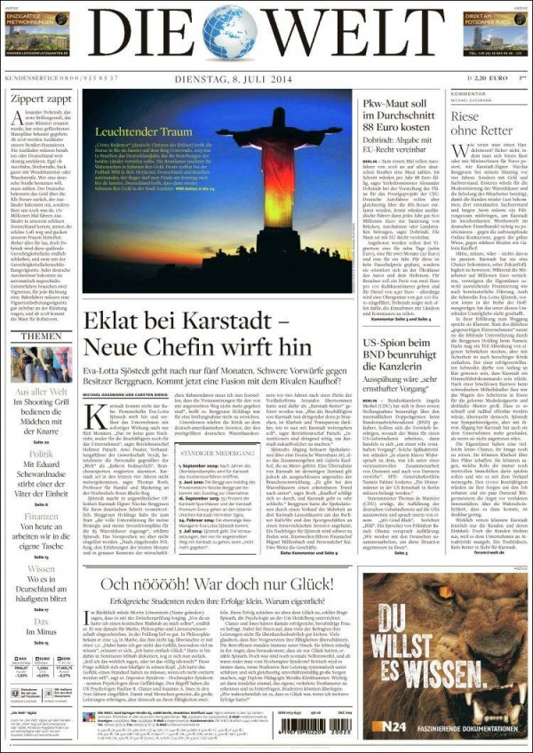 die welt 600x848 Brazil Newspapers Infatuated With Neymar: Front Covers of Todays Papers [PHOTOS]