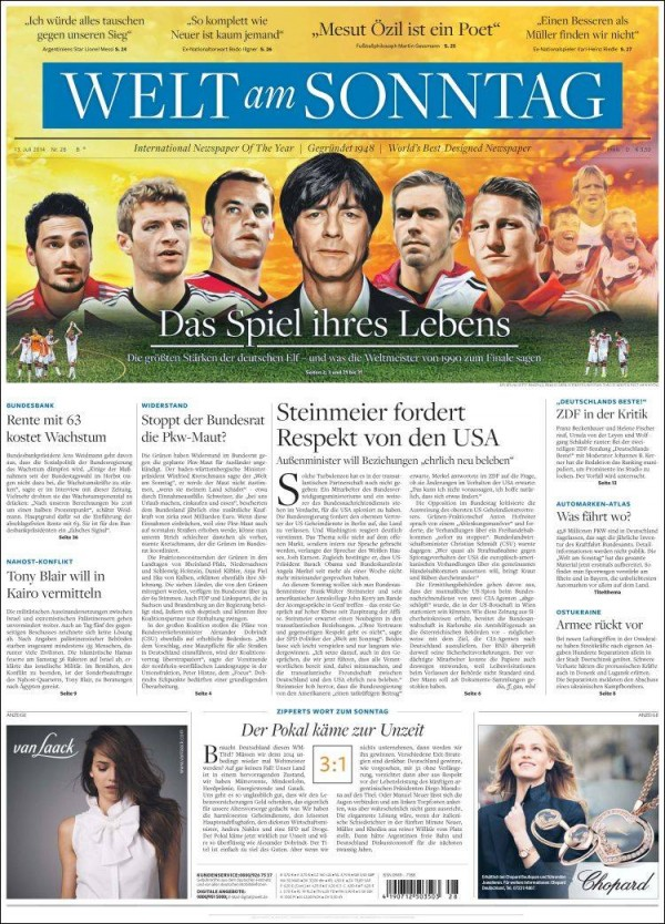 die welt1 600x834 World Cup Final Featured On Newspaper Front Covers Around the World [PHOTOS]