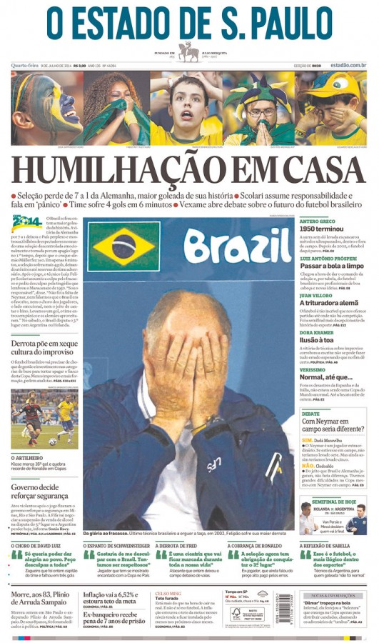 estado 531x900 Nation In Shock: Front Covers Of Brazil Newspapers After Defeat Against Germany [PHOTOS]