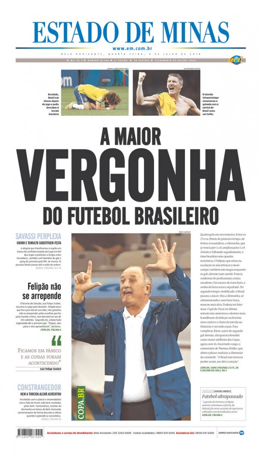 estado de minas 515x900 Nation In Shock: Front Covers Of Brazil Newspapers After Defeat Against Germany [PHOTOS]