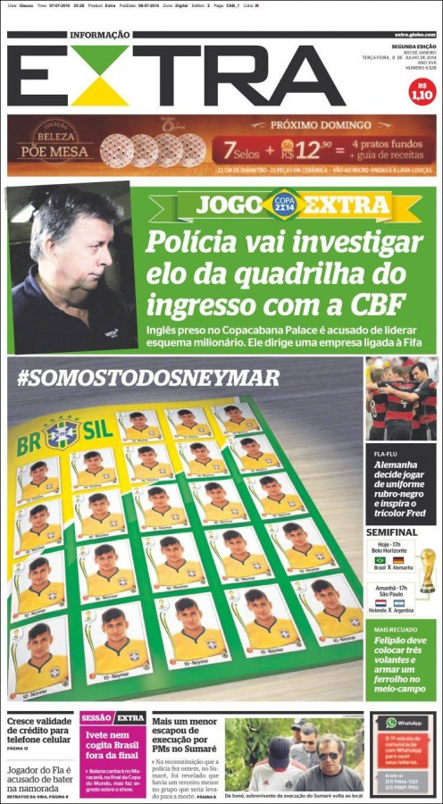 extra 496x900 Brazil Newspapers Infatuated With Neymar: Front Covers of Todays Papers [PHOTOS]
