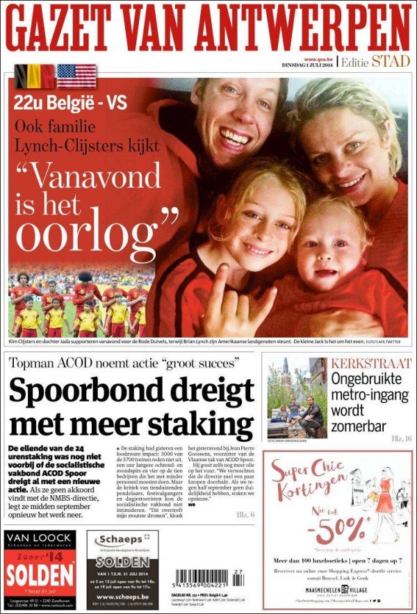 gazet van antwerpen 600x884 Front Covers of USA and Belgium Newspapers Ahead of World Cup Game [PHOTOS]
