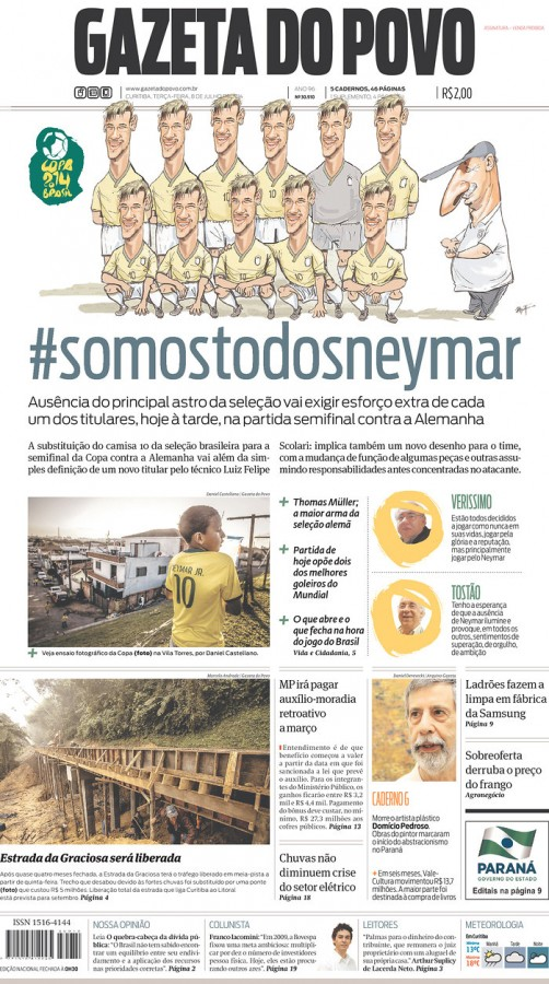 gazeta do povo 502x900 Brazil Newspapers Infatuated With Neymar: Front Covers of Todays Papers [PHOTOS]