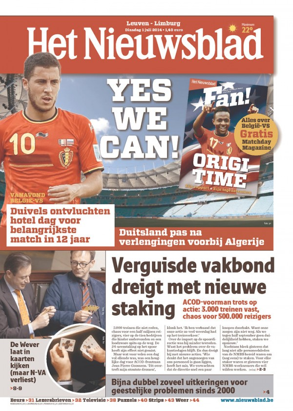 het nieuwsblad 600x841 Front Covers of USA and Belgium Newspapers Ahead of World Cup Game [PHOTOS]