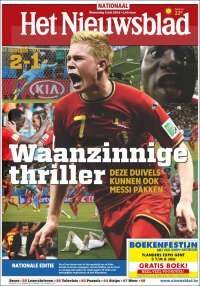 het nieuwsblad1 Front Covers From USA and Belgium Newspapers After Round of 16 Game [PHOTOS]