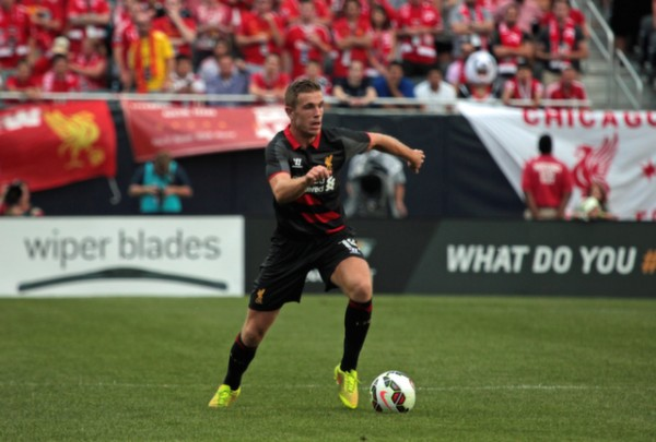 jordan henderson 600x405 Liverpool vs Olympiacos, International Champions Cup Game in Chicago [PHOTOS]
