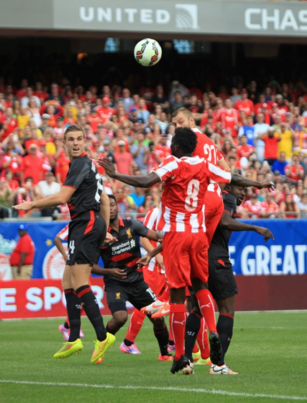 jordan henderson liverpool 600x787 Liverpool vs Olympiacos, International Champions Cup Game in Chicago [PHOTOS]