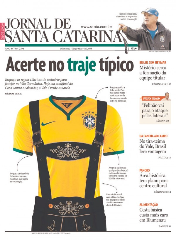 jornal de santa catarina 600x816 Brazil Newspapers Infatuated With Neymar: Front Covers of Todays Papers [PHOTOS]