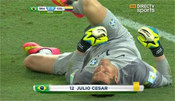julio cesar Colombia Star James Rodriguez Scores a Penalty Against Brazil [VIDEO]