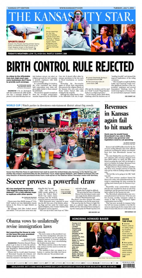 kANSAS CITY STAR 461x900 Front Covers of USA and Belgium Newspapers Ahead of World Cup Game [PHOTOS]