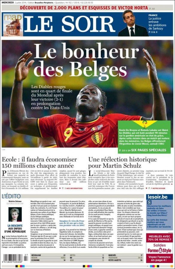 le soir1 585x900 Front Covers From USA and Belgium Newspapers After Round of 16 Game [PHOTOS]