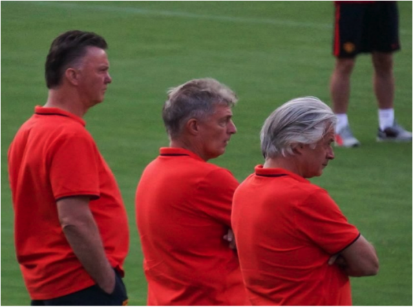 louis van gaal 600x446 Manchester United vs Inter Milan, International Champions Cup In Maryland [PHOTOS]