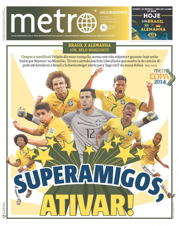 metro belo horizonte 600x760 Brazil Newspapers Infatuated With Neymar: Front Covers of Todays Papers [PHOTOS]