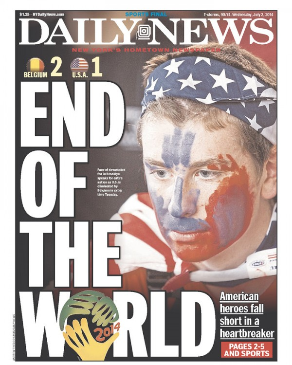 ny daily news1 600x750 Front Covers From USA and Belgium Newspapers After Round of 16 Game [PHOTOS]