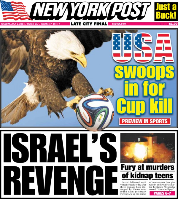 ny post 600x671 Front Covers of USA and Belgium Newspapers Ahead of World Cup Game [PHOTOS]