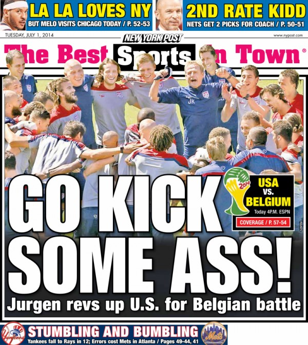ny post back page 600x671 Front Covers of USA and Belgium Newspapers Ahead of World Cup Game [PHOTOS]