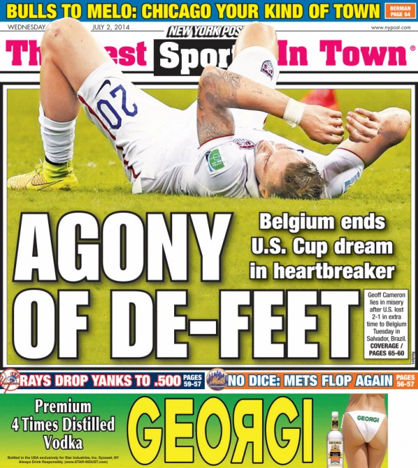 ny post back page2 600x671 Front Covers From USA and Belgium Newspapers After Round of 16 Game [PHOTOS]
