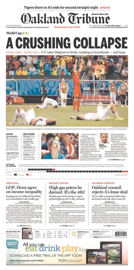 oakland tribune 446x900 Front Covers From USA and Belgium Newspapers After Round of 16 Game [PHOTOS]