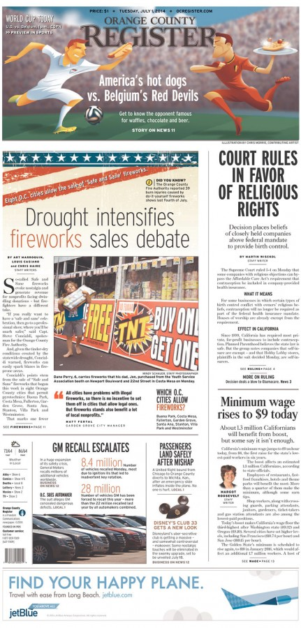 oc register 431x900 Front Covers of USA and Belgium Newspapers Ahead of World Cup Game [PHOTOS]