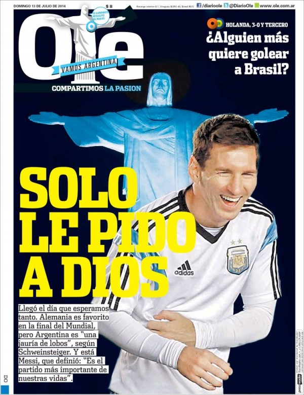 ole 600x779 World Cup Final Featured On Newspaper Front Covers Around the World [PHOTOS]