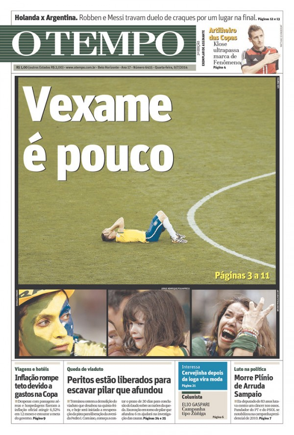 otempo 600x888 Nation In Shock: Front Covers Of Brazil Newspapers After Defeat Against Germany [PHOTOS]