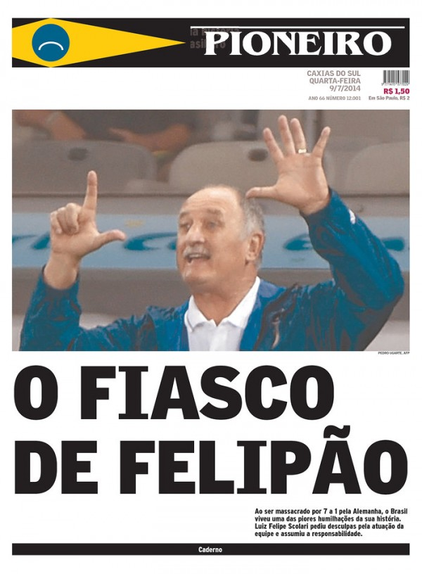 pioneiro 600x816 Nation In Shock: Front Covers Of Brazil Newspapers After Defeat Against Germany [PHOTOS]