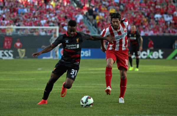 raheem sterling 600x392 Liverpool vs Olympiacos, International Champions Cup Game in Chicago [PHOTOS]
