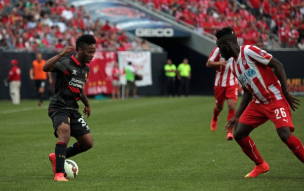 raheem sterling lfc 600x376 Liverpool vs Olympiacos, International Champions Cup Game in Chicago [PHOTOS]