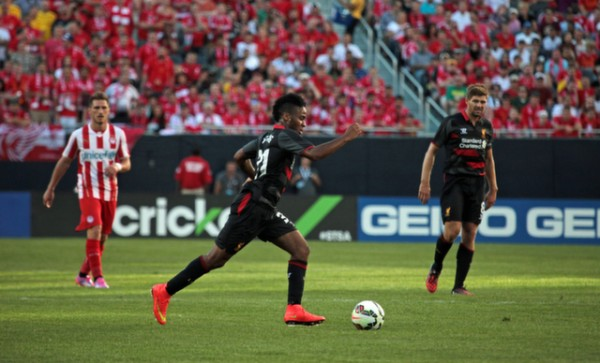 raheem sterling liverpool 600x363 Liverpool vs Olympiacos, International Champions Cup Game in Chicago [PHOTOS]