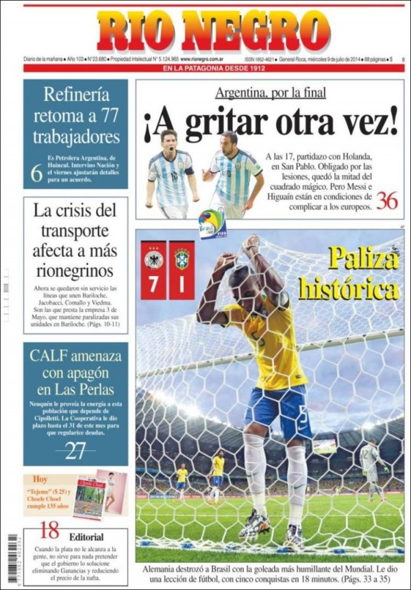 rio negro 600x861 Front Covers of Newspapers From Argentina and Netherlands Ahead of World Cup Semifinal [PHOTOS]