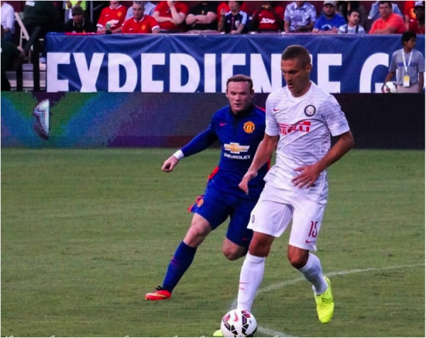 rooney vidic 600x476 Manchester United vs Inter Milan, International Champions Cup In Maryland [PHOTOS]