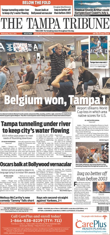 tampa tribune 424x900 Front Covers From USA and Belgium Newspapers After Round of 16 Game [PHOTOS]