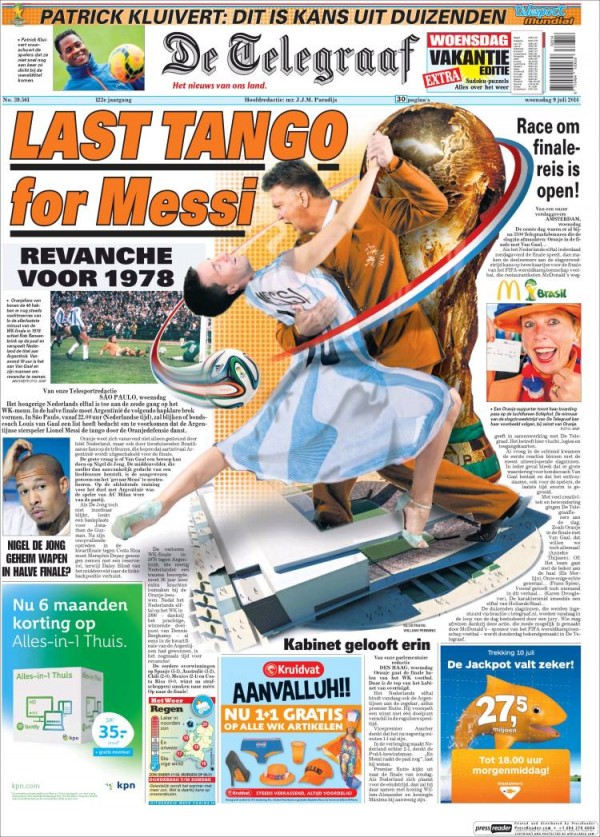telegraf 600x837 Front Covers of Newspapers From Argentina and Netherlands Ahead of World Cup Semifinal [PHOTOS]