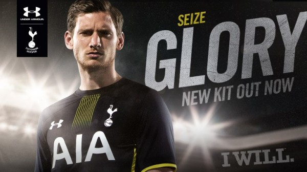 tottenham away shirt vertonghen 600x336 Tottenham Hotspur Unveil Home and Away Shirts for 2014/15 Season: Official [PHOTOS]