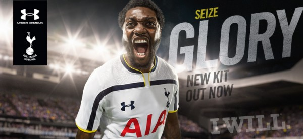 tottenham hotspur home shirt adebayor 600x276 Tottenham Hotspur Unveil Home and Away Shirts for 2014/15 Season: Official [PHOTOS]