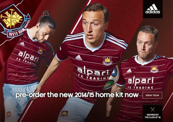 west ham united home shirt promo 600x422 West Ham United Home Shirt For 2014/15 Season: Official [PHOTOS]