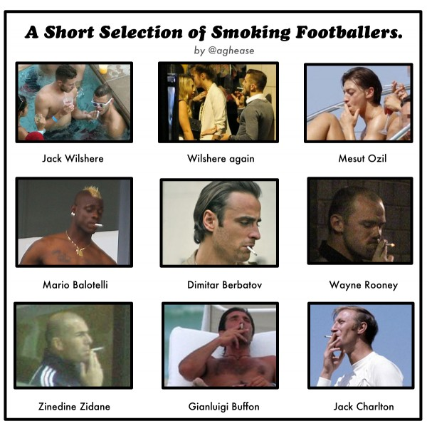 A Brief History of Smoking Footballers 600x605 Jack Wilshere and the History of Smoking in Soccer