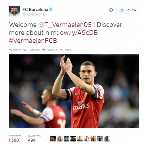 BarcaTweet 600x581 Official: Thomas Vermaelen Joins Barcelona On A Five Year Deal