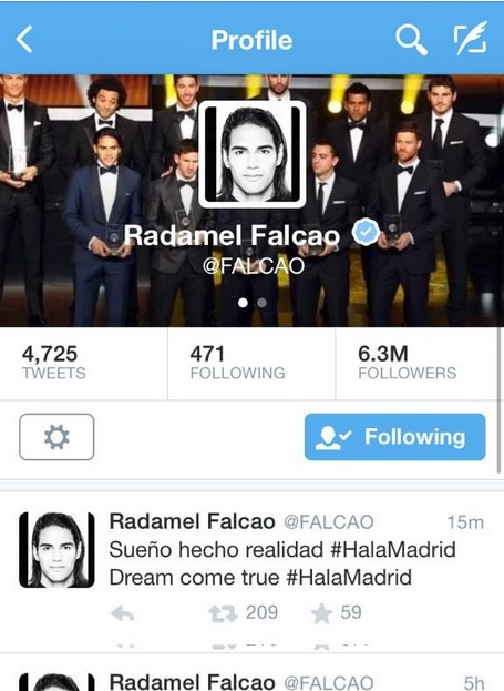 FalcaoTweet Radamel Falcao Close To Finalizing A Move To Real Madrid, Say Reports