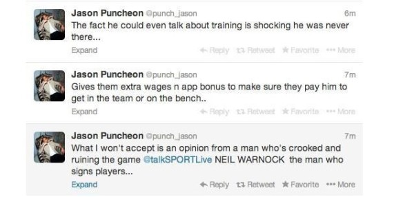 JasonPuncheonTweet 600x286 Crystal Palace Appoint Neil Warnock Manager On A Two Year Contract