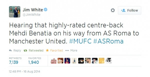 JimWhiteTweet 600x308 Manchester United Agree £24 Million Deal To Sign Mehdi Benatia From AS Roma, Say Reports