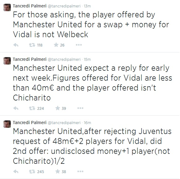 Palmeri3Tweets Juventus Demand £39m Plus Players From Manchester United For Arturo Vidal, Says Report