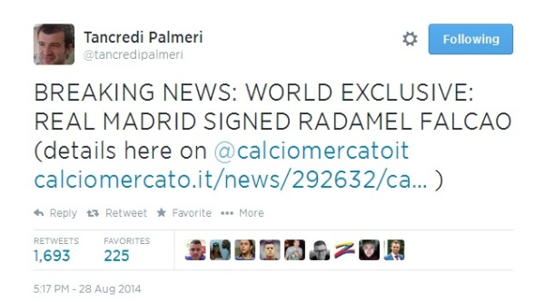 PalmeriTweet 600x333 Radamel Falcao Close To Finalizing A Move To Real Madrid, Say Reports