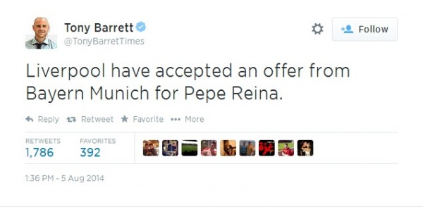 ReinaTransfer 600x294 Liverpool And Bayern Munich Agree On Fee For Goalkeeper Pepe Reina