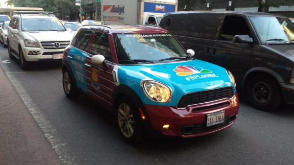 aston villa uber epl taxi 600x337 Premier League Mini Coopers Spotted On the Streets of New York City [PHOTOS]