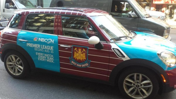 aston villa uber taxi 600x337 Premier League Mini Coopers Spotted On the Streets of New York City [PHOTOS]
