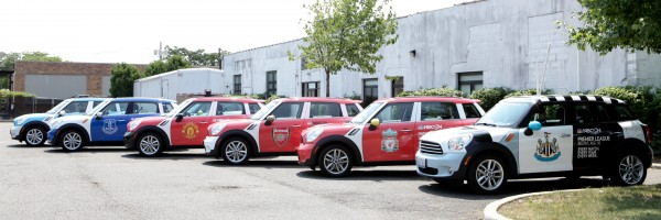 epl mini coopers 600x200 NBC Sports and Uber Launch Fleet of Premier League Mini Coopers in New York City [PHOTOS]